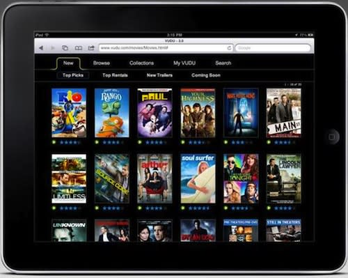 Vudu starts streaming movies to the iPad, chooses the web app route