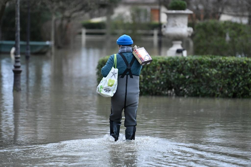 A resident carries a box of wine down a street flooded by the Seine river in Villennes-sur-Seine, west of Paris (AFP Photo/STEPHANE DE SAKUTIN)