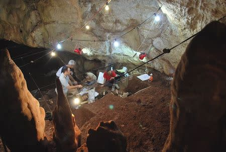 Researchers work inside Manot Cave in Israel's Western Galilee in this picture released on January 28, 2015. REUTERS/Israel Hershkovitz, Ofer Marder & Omry Barzilai/Handout via Reuters
