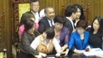Taiwanese Lawmaker Carried Away for Demanding That China Scrap New Flight Route