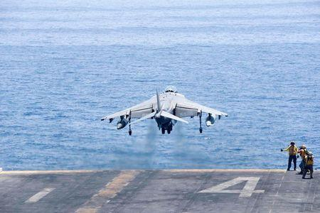 An AV-8B Harrier II launches from the amphibious assault ship USS Boxer to conduct missions in support of Operation Inherent Resolve (U.S. military's operational name for the intervention against the Islamic State of Iraq and the Levant, ISIL), in the Arabian Gulf, June 16, 2016. Mass Communication Specialist 3rd Class Brett Anderson/U.S. Navy/Handout via Reuters