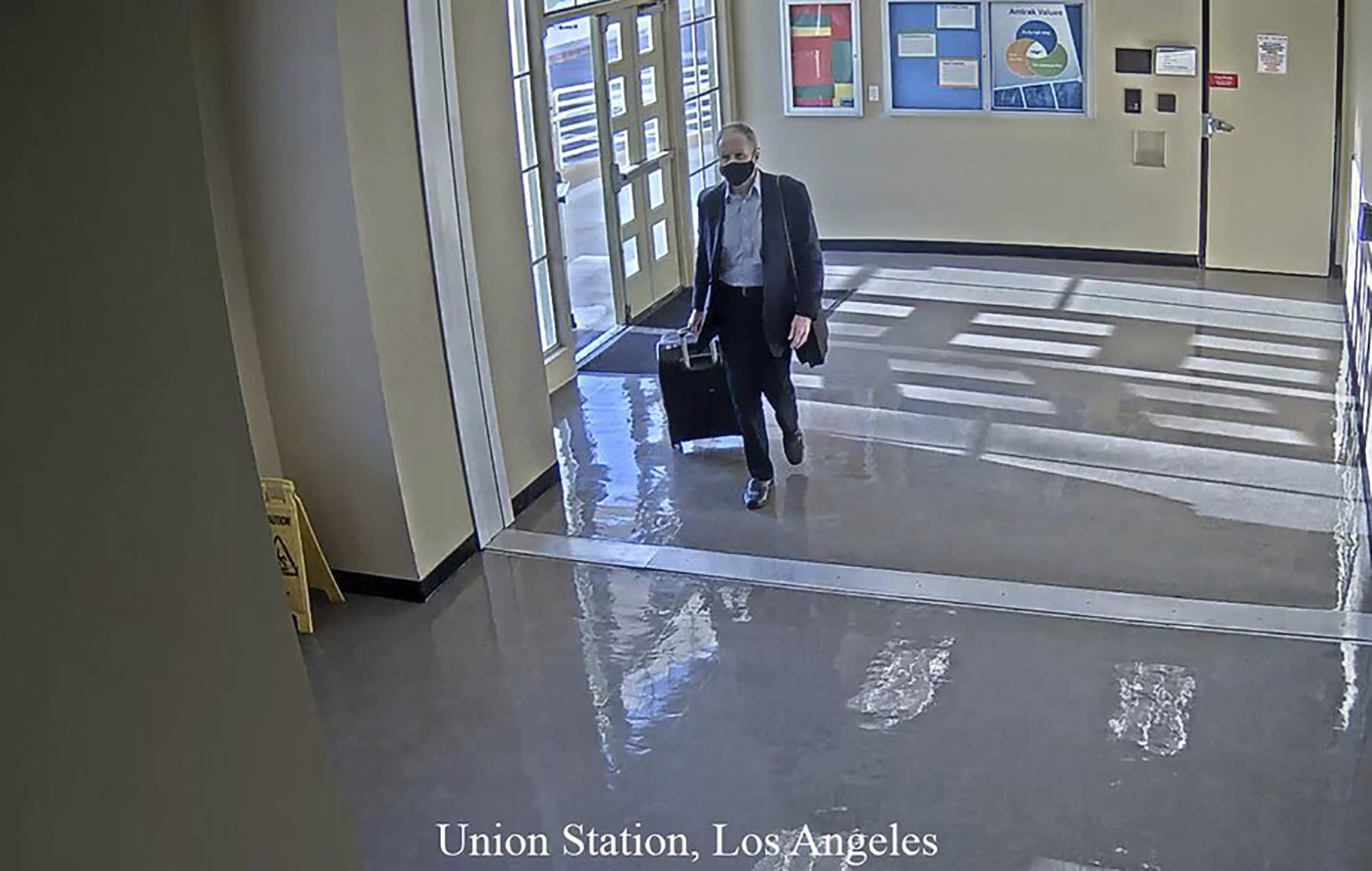 This July 11, 2020 surveillance photo provided by the San Bernardino County Sheriff's Department shows who is believed to be Roy Den Hollander, passing through Union Station in Los Angeles. Officials announced Friday, July 24, 2020, that Hollander fatally shot Marc Angelucci on July 11, 2020, in California. He then on July 19, 2020, shot and killed U.S. District Judge Esther Salas' son and wounded her husband in New Jersey, and was found dead the next day. (Courtesy of San Bernardino County Sheriff's Department via AP)