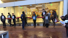 Protesters blocked Uber headquarters because of its ties to Trump
