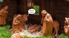 An ox, an ass ... a dragon? Sorry, there were no animals in the Bible's nativity scene