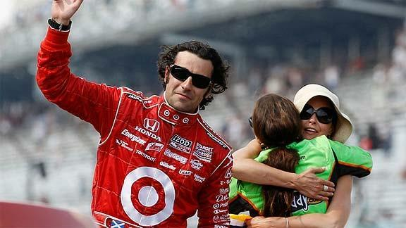 Dario Franchitti reacts to victory