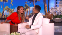 Chrissy Teigen Scared the Crap Outta John Legend on 'Ellen' and Couldn't Stop Swearing