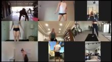 Fitness Instructor Hosts Workout Training Class With People Via Video Call During Quarantine