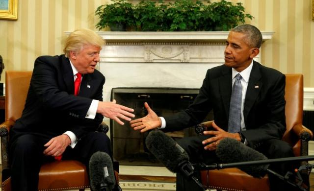 Shortly after the election, then-President Obama shakes hands with then-President-elect Donald Trump in the Oval Office. (Photo: Kevin Lamarque/Reuters)