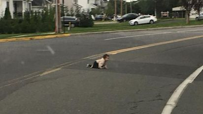 Outrage after driver saves baby crawling across road