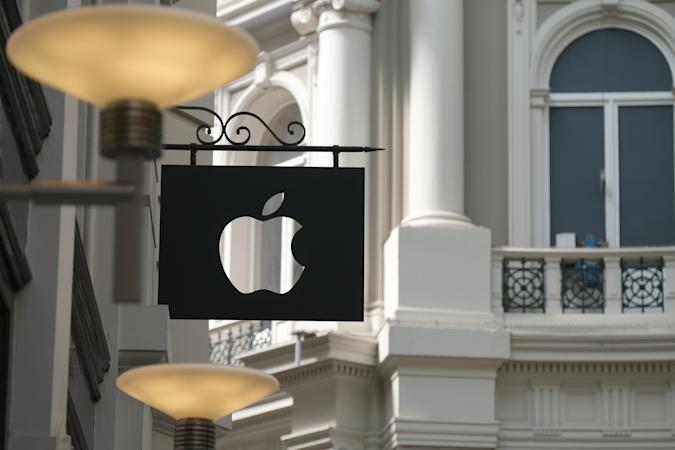THE HAGUE, NETHERLANDS - JUNE 24: The Apple logo hangs outside its store on June 24, 2020 in The Hague, Netherlands. (Photo by Yuriko Nakao/Getty Images)