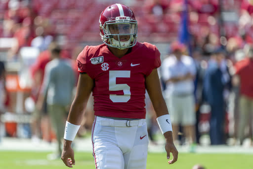 FILE - In this Sept. 28, 2019, file photo, then-Alabama quarterback Taulia Tagovailoa (5) is shown before an NCAA college football game against Mississippi in Tuscaloosa, Ala. Maryland senior quarterback Josh Jackson has opted out of the upcoming football season, coach Michael Locksley said during a teleconference Friday, Aug. 7, 2020. With Jackson out, Locksley is hoping the NCAA will grant a transfer waiver to former Alabama quarterback Taulia Tagovailoa, the younger brother of Tua Tagovailoa, who starred at Alabama and was selected fifth over in the 2020 NFL draft. (AP Photo/Vasha Hunt, File)