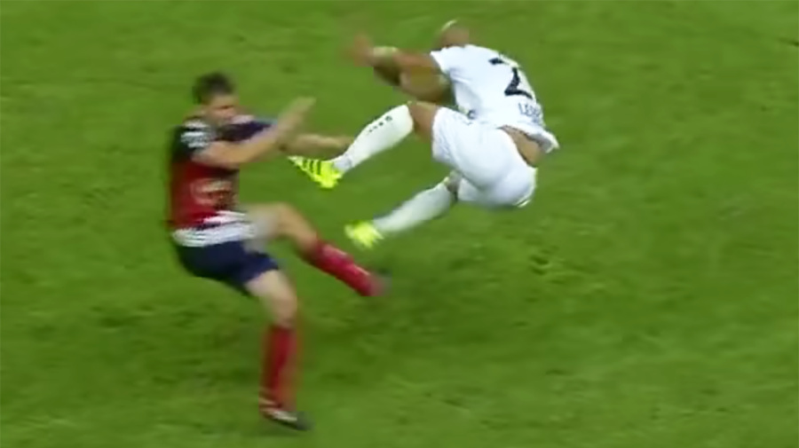 Is this the worst soccer tackle you've ever seen?