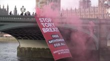 'Stop Tory Brexit' banner dropped from Westminster Bridge