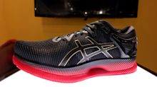 The outrageously curved Asics Metaride shoe literally adds a spring to your step