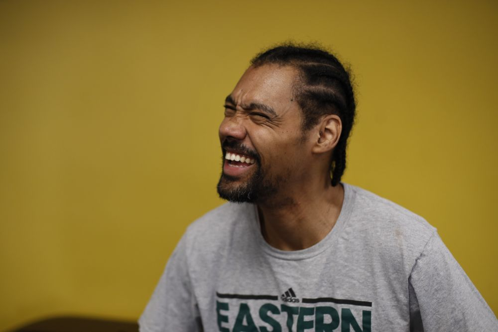 Two-time Olympic high jumper Jamie Nieto shares a laugh with specialist Skye Severns, not pictured, while taking a short break at Project Walk paralysis recovery center ahead of his July wedding, Wednesday, May 31, 2017, in Claremont, Calif. Nieto proposed to his fiancee while in a wheelchair as he recovered from a spinal cord injury after a mistimed backflip. Up to 130 steps with no assistance, he fully intends to walk her down the aisle at their wedding on July 22. (AP Photo/Jae C. Hong)