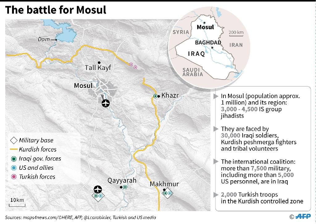 Detailed map of Mosul in Iraq (AFP Photo/Iris ROYER DE VERICOURT)