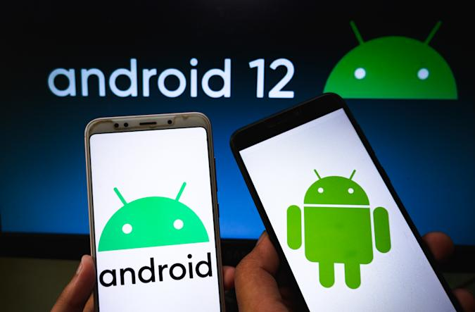 Android logo is seen displayed on a phone screen in this illustration photo taken in Tehatta, West Bengal, India on April 27, 2021. Google has announced the latest iteration of Android, Android 12. Two preview versions of Android 12 have already been released with a third one likely to be launched soon. Android 12 update will also increase the efficiency in video and image compression which helps in saving data.  (Photo by Soumyabrata Roy/NurPhoto via Getty Images)