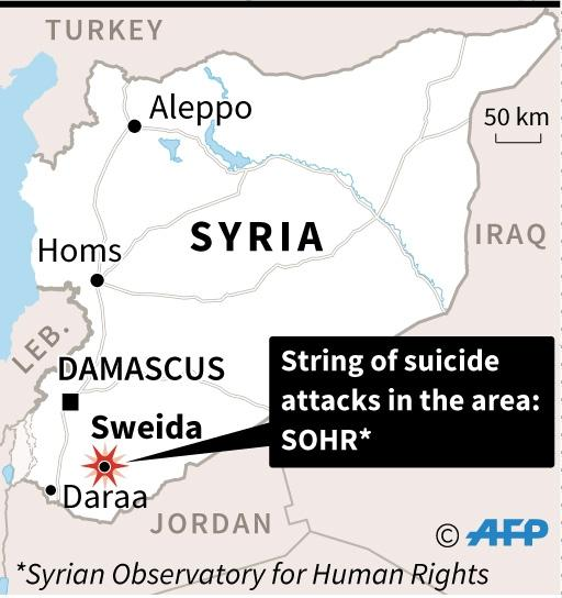 Map of Syria locating Sweida (AFP Photo/AFP )