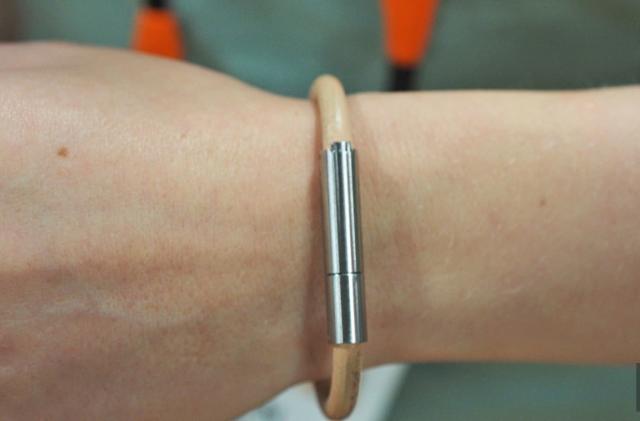The Invi security bracelet repels assailants with a viscous stink