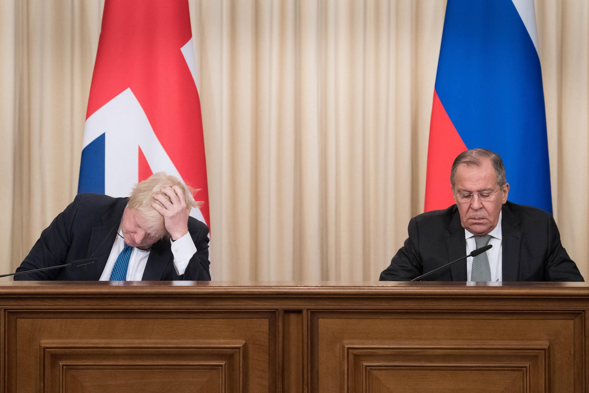 Foreign Secretary Boris Johnson (left) and his Russian counterpart Sergei Lavrov during a press conference following their meeting in Moscow.