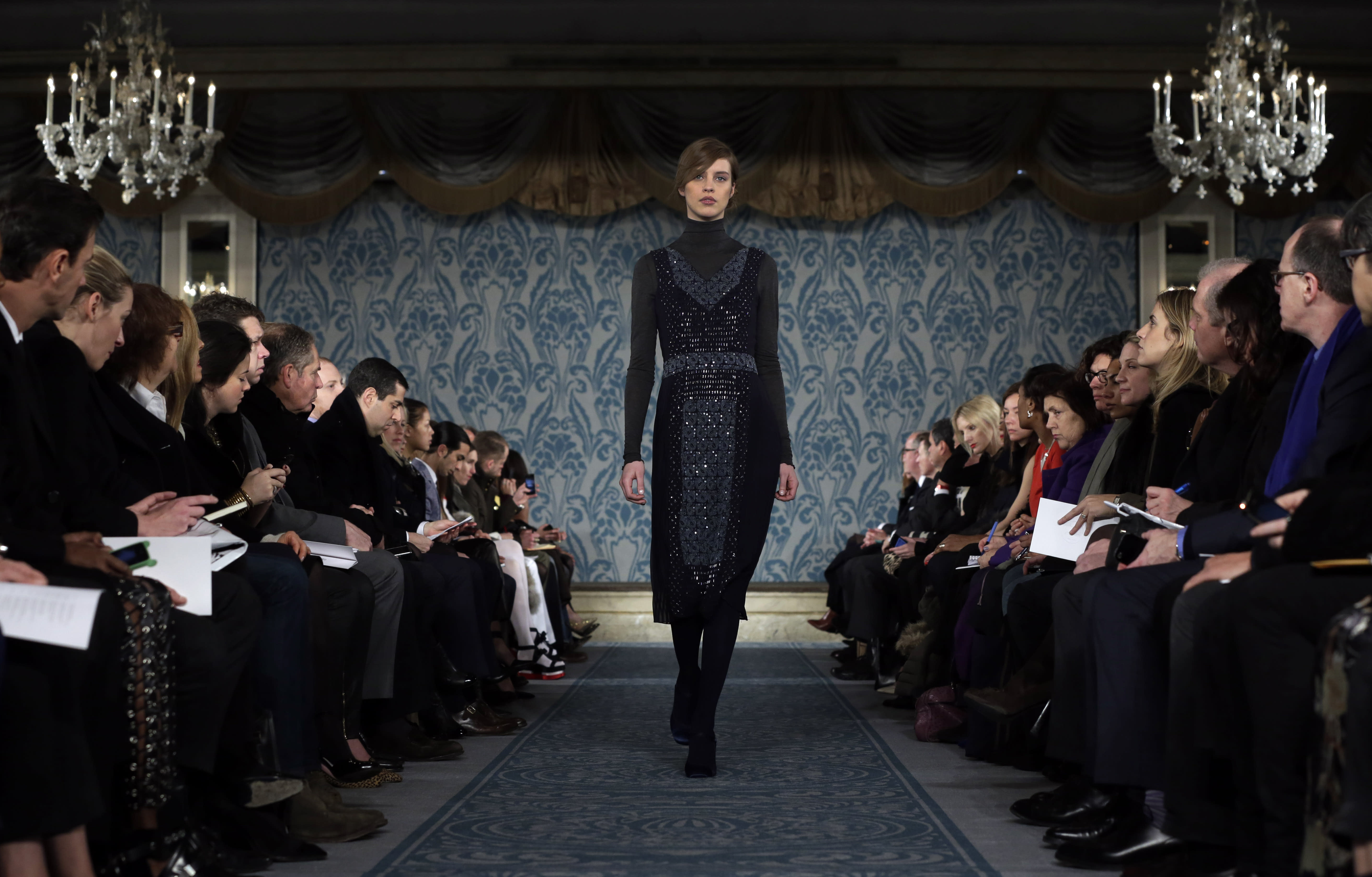 The Tory Burch Fall 2013 collection is modeled during Fashion Week in New York, Tuesday, Feb. 12, 2013. (AP Photo/Richard Drew)
