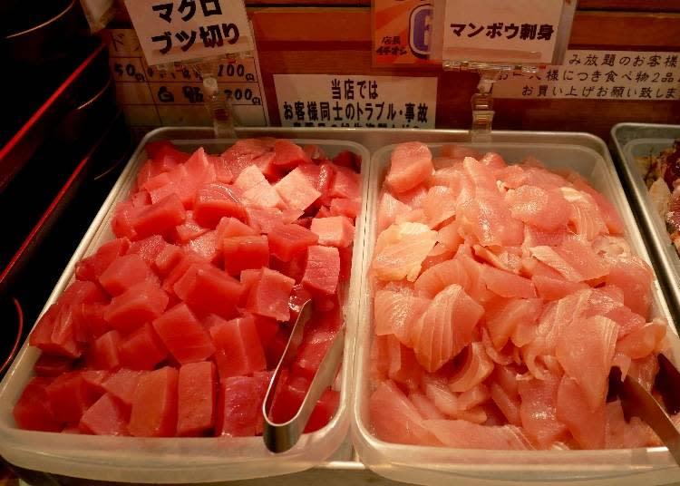 右起:曼波魚生魚片、鮪魚生魚片