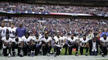 American Football stars defy Trump and kneel during 'Stars and Stripes' at Wembley