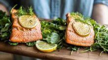 Lemon-dill roasted salmon over arugula