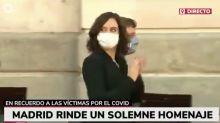 La cara de Ayuso tras escuchar estos gritos a Aguado en el homenaje a las víctimas del coronavirus