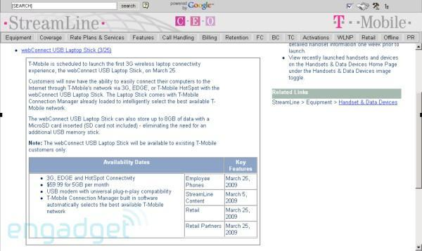 T-Mobile's webConnect USB modem launching March 25?