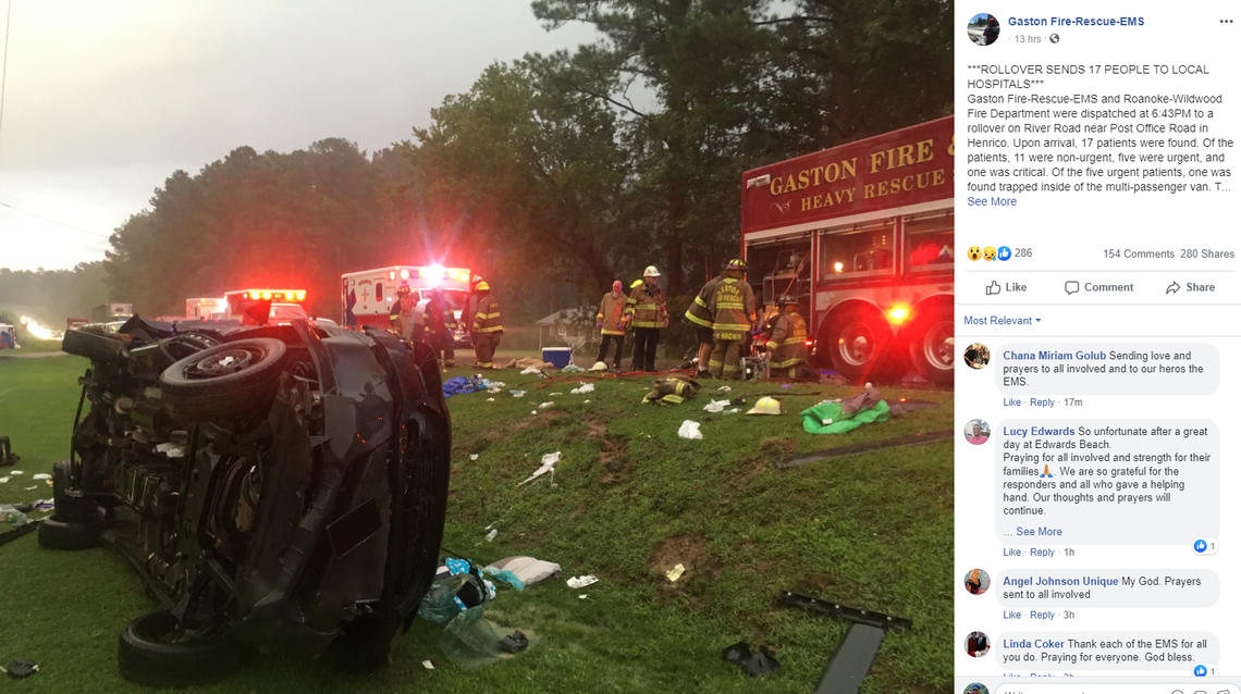 17 injured, one critically, when camp van full of teens skids off NC road into ditch