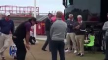 Golfer Phil Mickelson Performs Amazing Flop Shot Over Man's Head