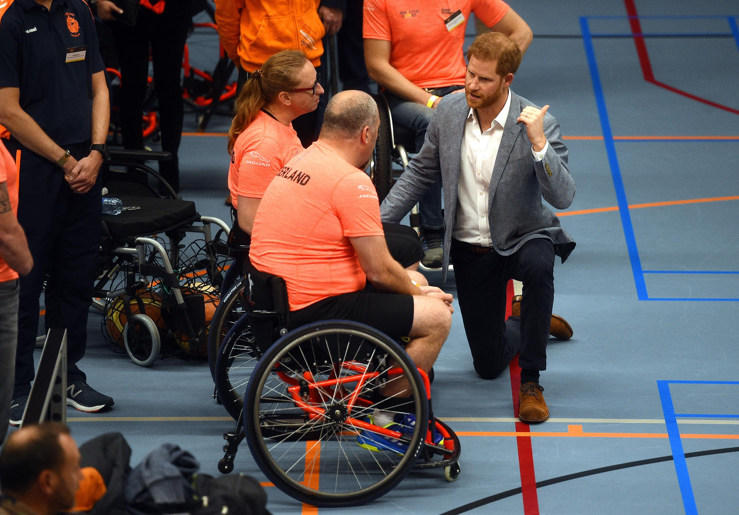 The Duke of Sussex at a sports training session at Sportcampus Zuiderpark during a visit to The Hague as part of a programme of events to mark the official launch of the Invictus Games, Netherlands. (Photo by Kirsty O'Connor/PA Images via Getty Images)