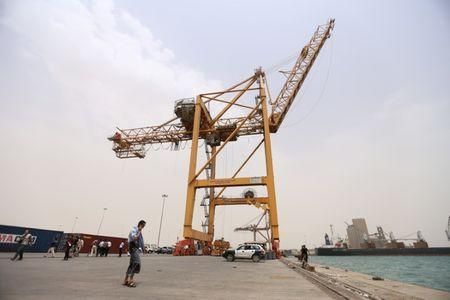 Man Walks During A Visit By U N Delegation To The Red Sea Port Of Hodeidah