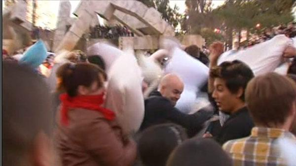 Massive pillow fight at Justin Herman Plaza