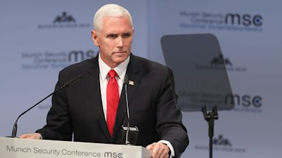 Pence met with silence after mentioning Trump