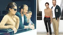 Victoria and Romeo Beckham support David at his London Fashion Week Men's show