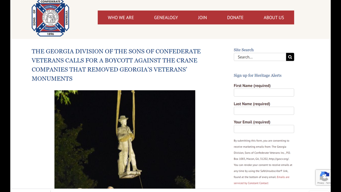 Removal of Confederate monuments in Georgia leads to boycott of crane companies