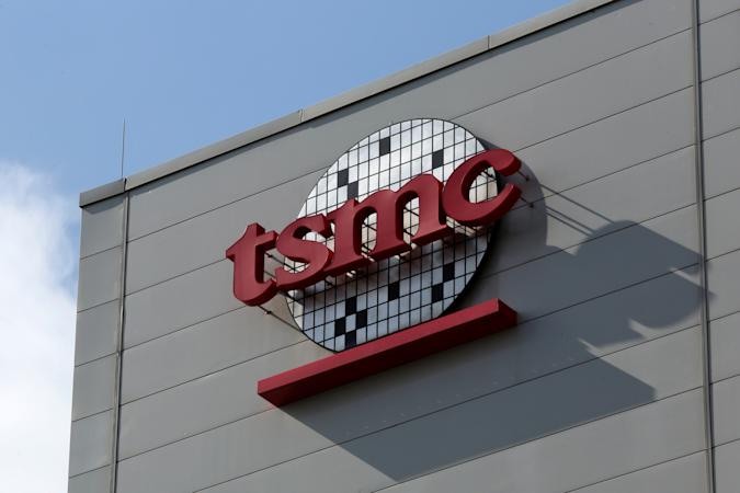 A logo of Taiwan Semiconductor Manufacturing Co (TSMC) is seen on a wall of its headquarters in Hsinchu, Taiwan October 5, 2017.  Picture taken October 5, 2017. REUTERS/Eason Lam