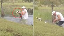 Insane moment man wrestles with alligator to save small dog