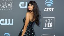 Jameela Jamil wearing her stompiest boots on the Crititcs' Choice red carpet is a vibe