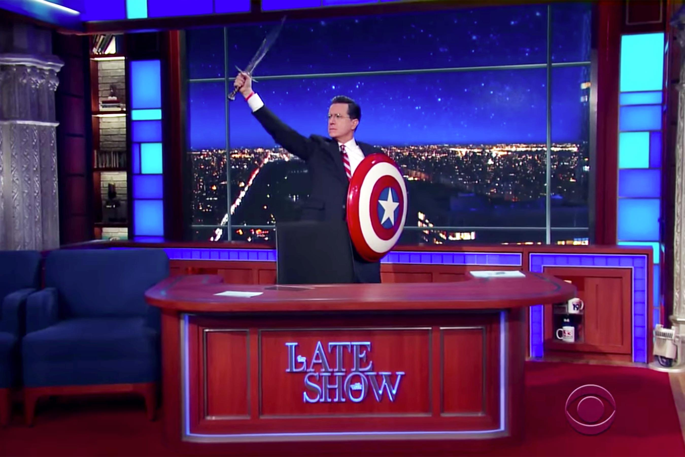 Stephen Colbert revives his alter ego to discuss Trump's budget plan