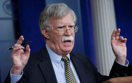 U.S. National Security Advisor John Bolton answers a question from a reporter about how he refers to Palestine during a news conference in the White House briefing room in Washington, U.S., October 3, 2018. REUTERS/Leah Millis