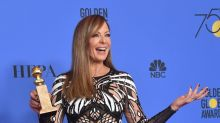 Allison Janney wears a cut out dress — and a bird on her shoulder — to the Golden Globes