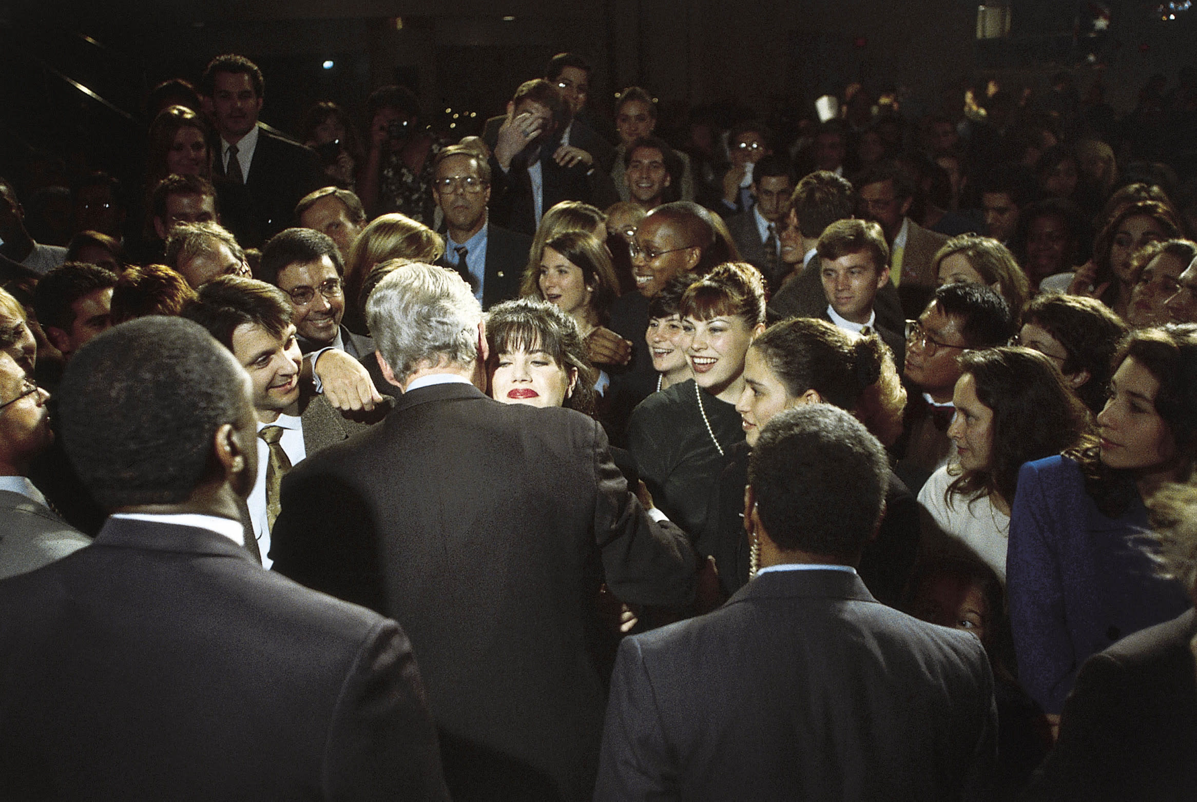 Monica Lewinsky Embraces President Bill Clinton At A Democratic Fundraiser in Washington D.C. on 10/23/96. (Photo By Dirck Halstead/Getty Images)