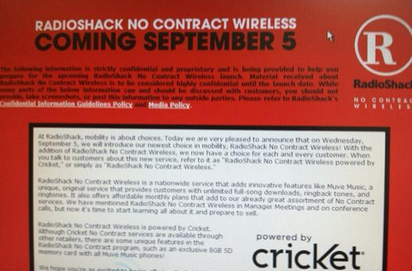 RadioShack No Contract Wireless may be getting ready to launch September 5th