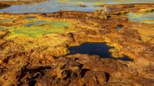 Acid pools in Africa that look like a Martian landscape