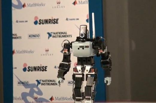 Kondo KHR-3HV robot celebrates Engadget Award with a new Linux backpack (video)