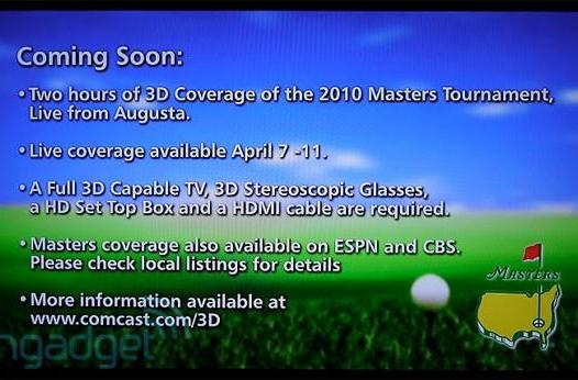 Comcast's 3D channel goes live, just in time for the Masters