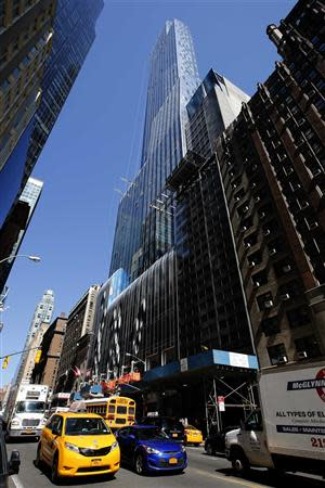 One57, a new luxury skyscraper apartment building designed by French architect Christian de Portzamparc which is under construction on New York City's West 57th street, is pictured April 24, 2014. REUTERS/Mike Segar
